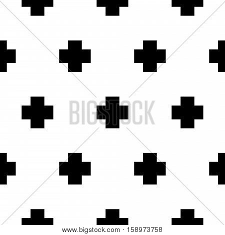 Vector seamless pattern with cros bold geometric shapes. Scandinavian trendy print monochrome background.