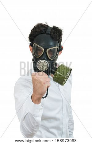 fine portrait of man with classic old mask gas isolated on white.