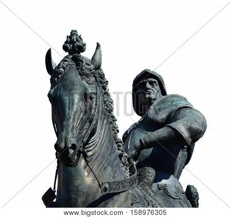 Bartolomeo Colleoni a powerful italian soldier of fortune equestrian monument in Venice cast by renaissance artist Verrocchio in the 15th century (isolated on white background)