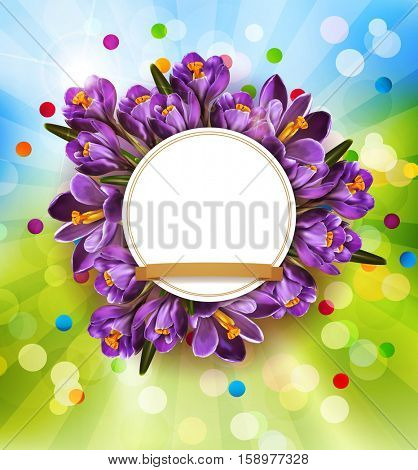festive background with blue crocuses and a round frame (space for text)