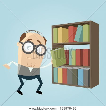 funny librarian with a bookshelf