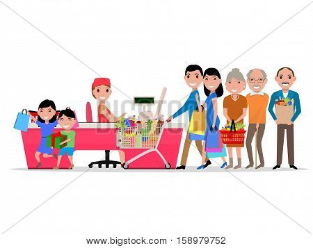 Vector cartoon people doing shopping in supermarket. Customers in department store paying at cash register. Isolated background. Flat style. Purchaser buys food products. Family is shopping at market.