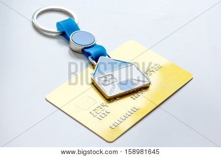 credit cards, key ring - concept mortgage on white background.