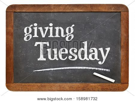 Giving Tuesday  -white chalk text on a slate blackboard