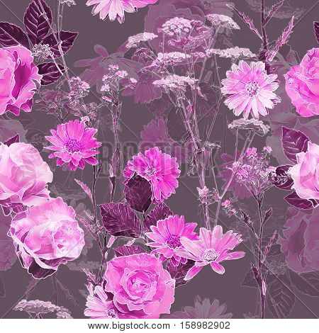 art vintage blurred monochrome watercolor and graphic floral seamless pattern with roses, peonies, gerbera, asters and leaves on dark  background. Double Exposure effect