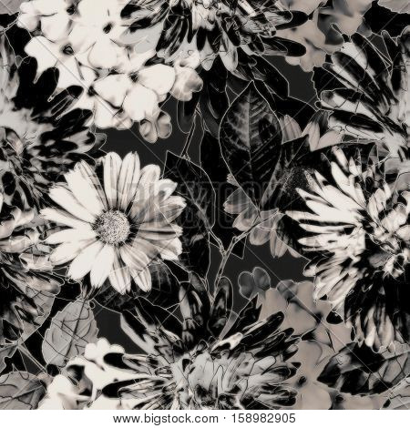 art vintage monochrome grey blurred watercolor and graphic floral seamless pattern with white gerbera and asters, dark leaves on  background. Double Exposure effect