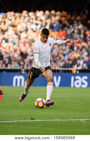 VALENCIA, SPAIN - NOVEMBER 20th: Cancelo during La Liga soccer match between Valencia CF and Granada CF at Mestalla Stadium on November 20, 2016 in Valencia, Spain