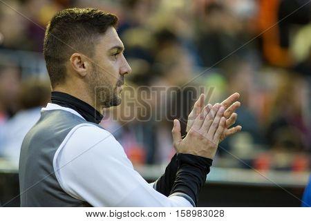 VALENCIA, SPAIN - NOVEMBER 20th: Siqueira during La Liga soccer match between Valencia CF and Granada CF at Mestalla Stadium on November 20, 2016 in Valencia, Spain