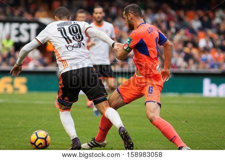 VALENCIA, SPAIN - NOVEMBER 20th: 19 Rodrigo during La Liga soccer match between Valencia CF and Granada CF at Mestalla Stadium on November 20, 2016 in Valencia, Spain