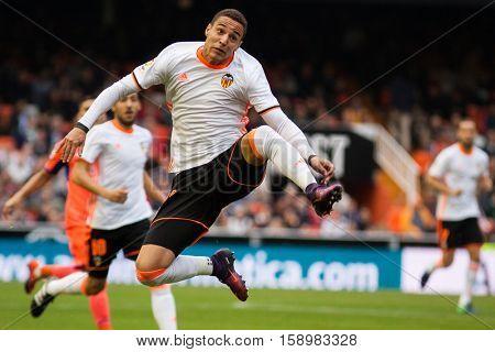 VALENCIA, SPAIN - NOVEMBER 20th: Rodrigo during La Liga soccer match between Valencia CF and Granada CF at Mestalla Stadium on November 20, 2016 in Valencia, Spain
