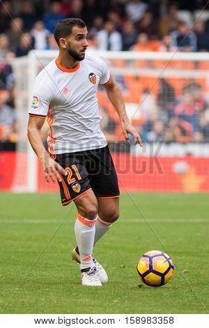 VALENCIA, SPAIN - NOVEMBER 20th: Montoya during La Liga soccer match between Valencia CF and Granada CF at Mestalla Stadium on November 20, 2016 in Valencia, Spain