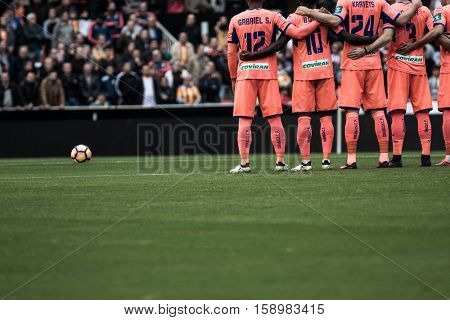 VALENCIA, SPAIN - NOVEMBER 20th: Granada players during La Liga soccer match between Valencia CF and Granada CF at Mestalla Stadium on November 20, 2016 in Valencia, Spain
