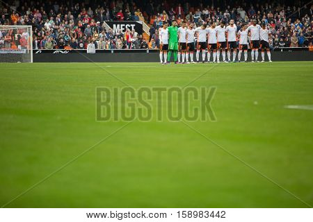 VALENCIA, SPAIN - NOVEMBER 20th: Valencia players during La Liga soccer match between Valencia CF and Granada CF at Mestalla Stadium on November 20, 2016 in Valencia, Spain