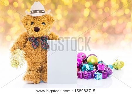 Teddy Bear With Gifts And Greeting Card