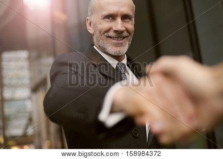 Businessman sealing the deal with a handshake