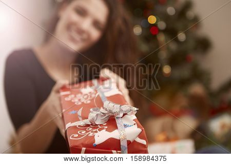 Woman giving a present