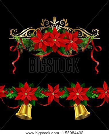 Christmas decoration set with evergreen treess holly and pinecone and poinsettia and ribbon isolated and matching seamless border