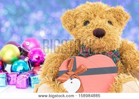Teddy Bear With Gifts And Ornaments New Year