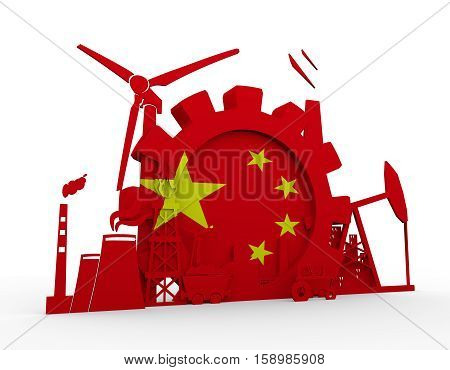 Energy and Power icons set with China flag. Sustainable energy generation and heavy industry. 3D rendering