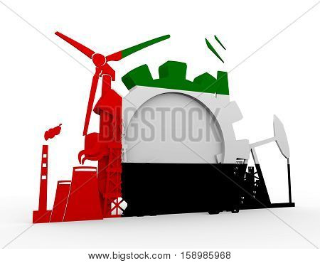 Energy and Power icons set with United Arab Emirates flag. Sustainable energy generation and heavy industry. 3D rendering.