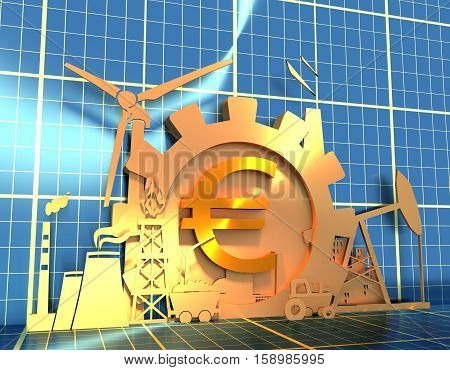 Energy and Power icons set on blueprint backdrop. Sustainable energy generation and heavy industry. 3D rendering. Golden material. Euro money sign