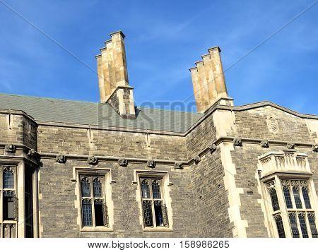 Chimneys of Hart House at University of Toronto in Toronto Canada November 18 2016