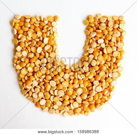 The peas Initials letter U.