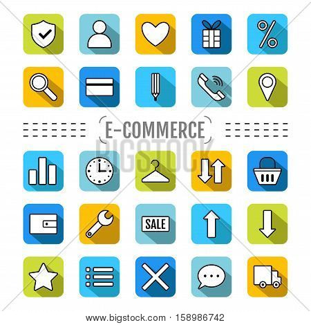 Set of Icons e-Commerce. Flat objects, shopping symbols, elements for marketing. Vector