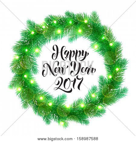 Decorative wreath of 2017 Happy New Year text. Christmas lights garland decoration. Christmas tree wreath of of pine, fir, spruce branches. New Year bow door decoration design element with texture