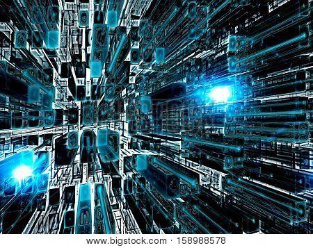 Abstract technology background - computer-generated 3d illustration. Fractal art: grid of rectangles with perspective and light effects. Tech concept or backdrop for covers, posters, web design.