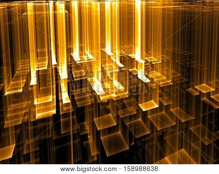 Technology background - abstract computer-generated golden 3d illustration. Fractal geometry: aspiring upward translucent, like glass, rectangles. Backdrop for tech or industrial design.
