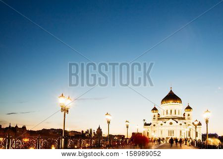Large pedestrian bridge leading to the Temple of Christ the Savior in Moscow