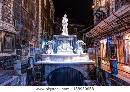 Night view of the Piazza del Duomo with the sculptural fountain in Catania, Sicily, Italy.