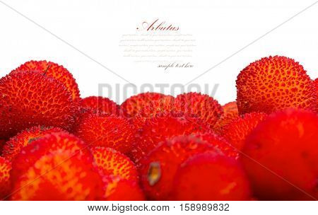 background of red fruits of Arbutus unedo.