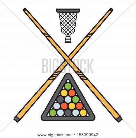 Snooker cue billiard sticks cartoon flat vector illustration on white background or play game wooden tool. Classic vintage club sport equipment gambling.