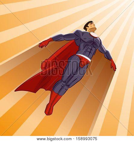 Superhero flying up on a sunlight. Comic book. Vector illustration