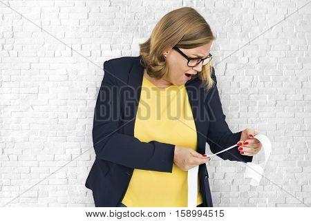 Businesswoman Surprise Stun Shock Payment Bill Concept