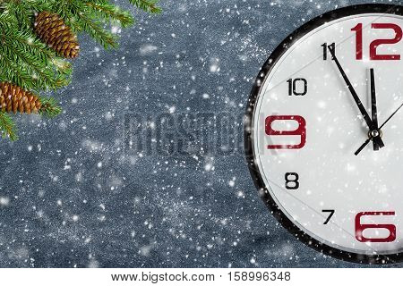 Big clock with chalkboard background copy space for Christmas concept