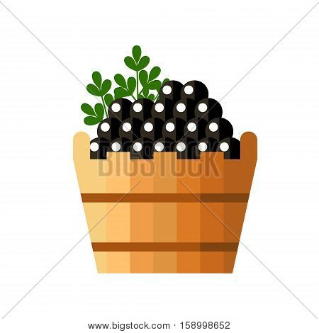 Black caviar in a wooden barrel isolated on white background. Roe icon logo vector illustration. Russian traditional snack. Caviare menu for restaurant