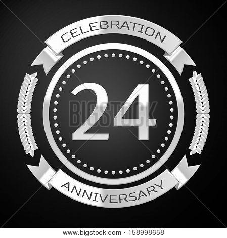 Twenty fouryears anniversary celebration with silver ring and ribbon on black background. Vector illustration