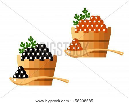 Black and red caviar in a wooden barrel isolated on white background. Roe icon logo vector illustration. Russian traditional snack. Caviare menu for restaurant.