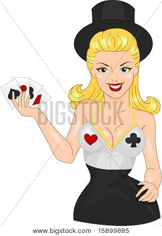 Illustration of a Pin Up Girl in a Casino