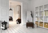 3D rendering of apartment living room with bookshelf, floor mirror in minimalist modern Scandinavian poster