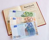 foto of passbook  - german red passbook from a bank with any money - JPG