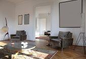 Постер, плакат: красивая квартира переоборудованы просмотр гостиная с ретро мебель
