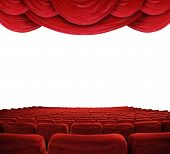 picture of movie theater  - Classic cinema with red seats and curtains - JPG