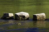 picture of stepping stones  - 3 stepping stones in river - JPG