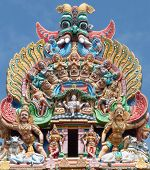 image of meenakshi  - Fragment of Meenakshi temple in Maduray  - JPG