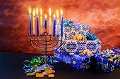 Jewish Holiday Hanukkah Star Of David  Menorah poster