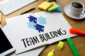 Постер, плакат: Team Building Partnership Team Cooperation Business Persons Plan A Project Team Building Busine